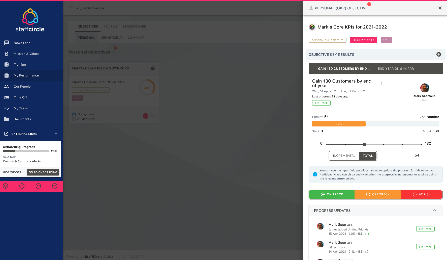 StaffCircle Software - OKR Personal View