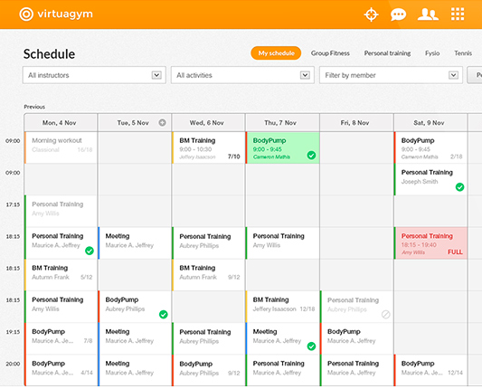 Virtuagym screenshot: Virtuagym can be used for facility, class and instructor scheduling