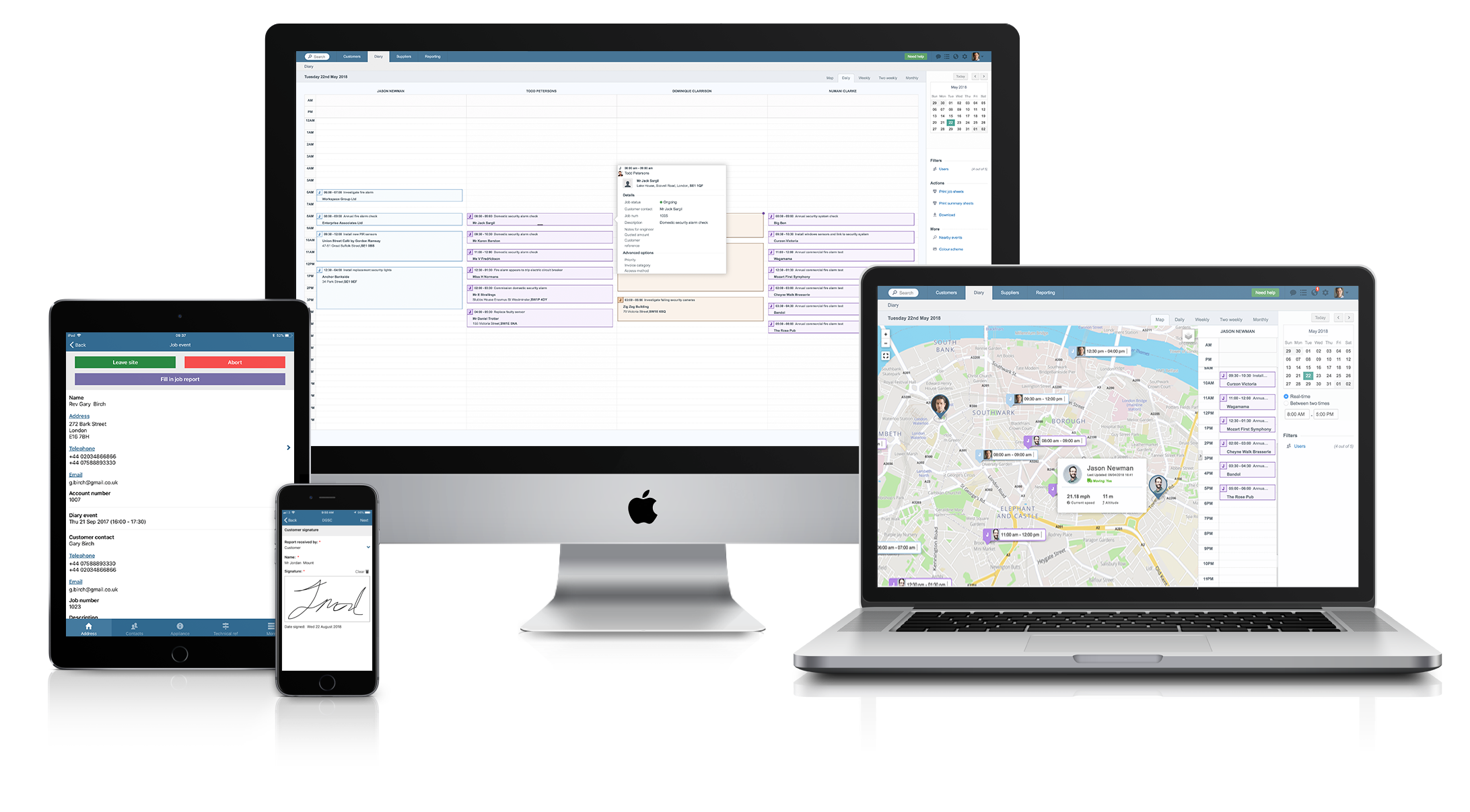 Commusoft screenshot: All-in-one job management software across all your devices.