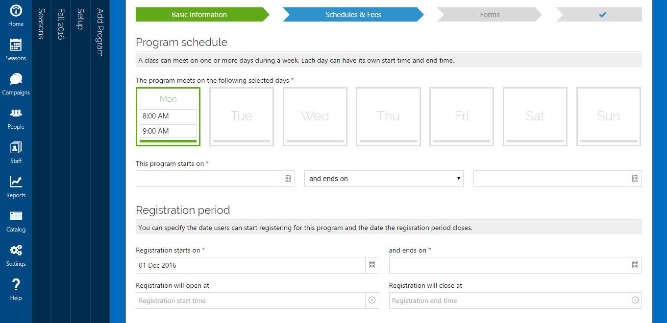 Jumbula program schedule screenshot