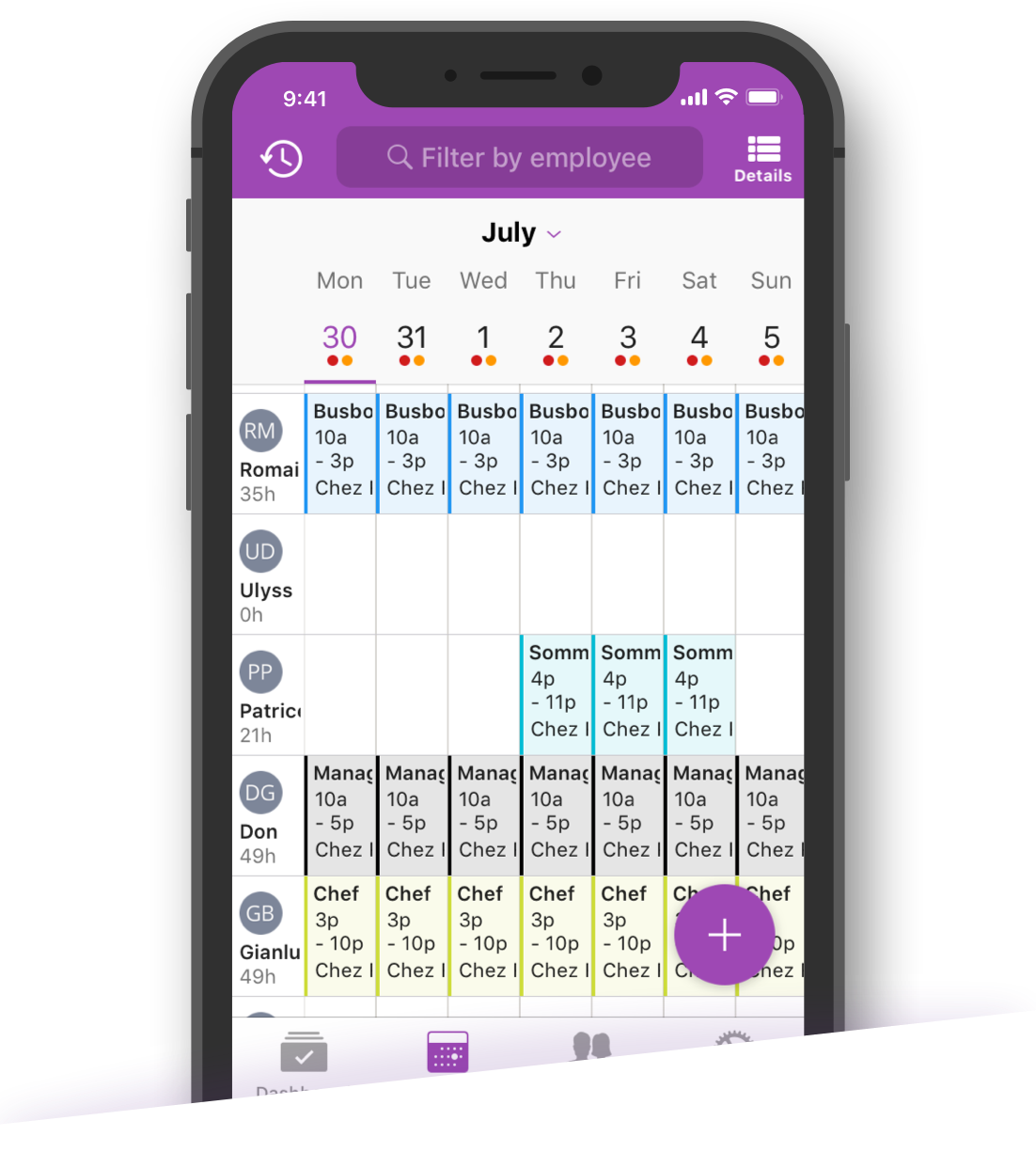 Both employees and managers can view schedules within the Voilà mobile app