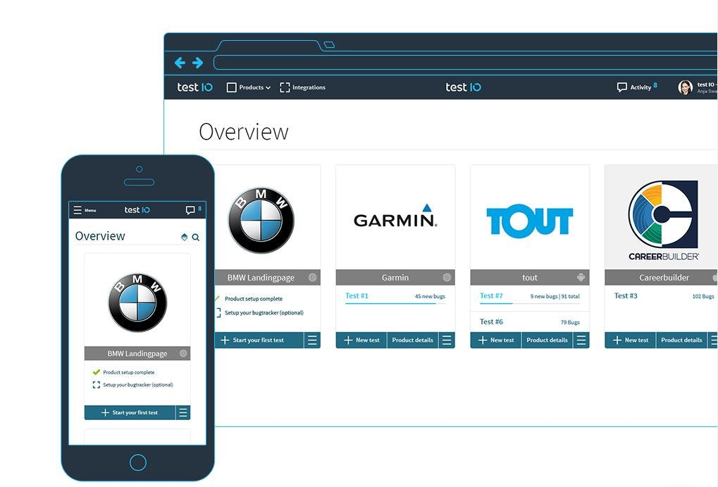 test IO Software - Web and mobile interface