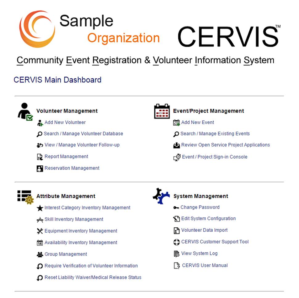 CERVIS Software - Dashboard