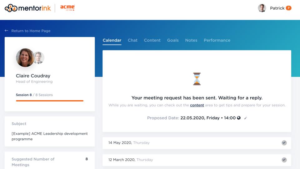 Mentorink Software - Pair page - Calendar