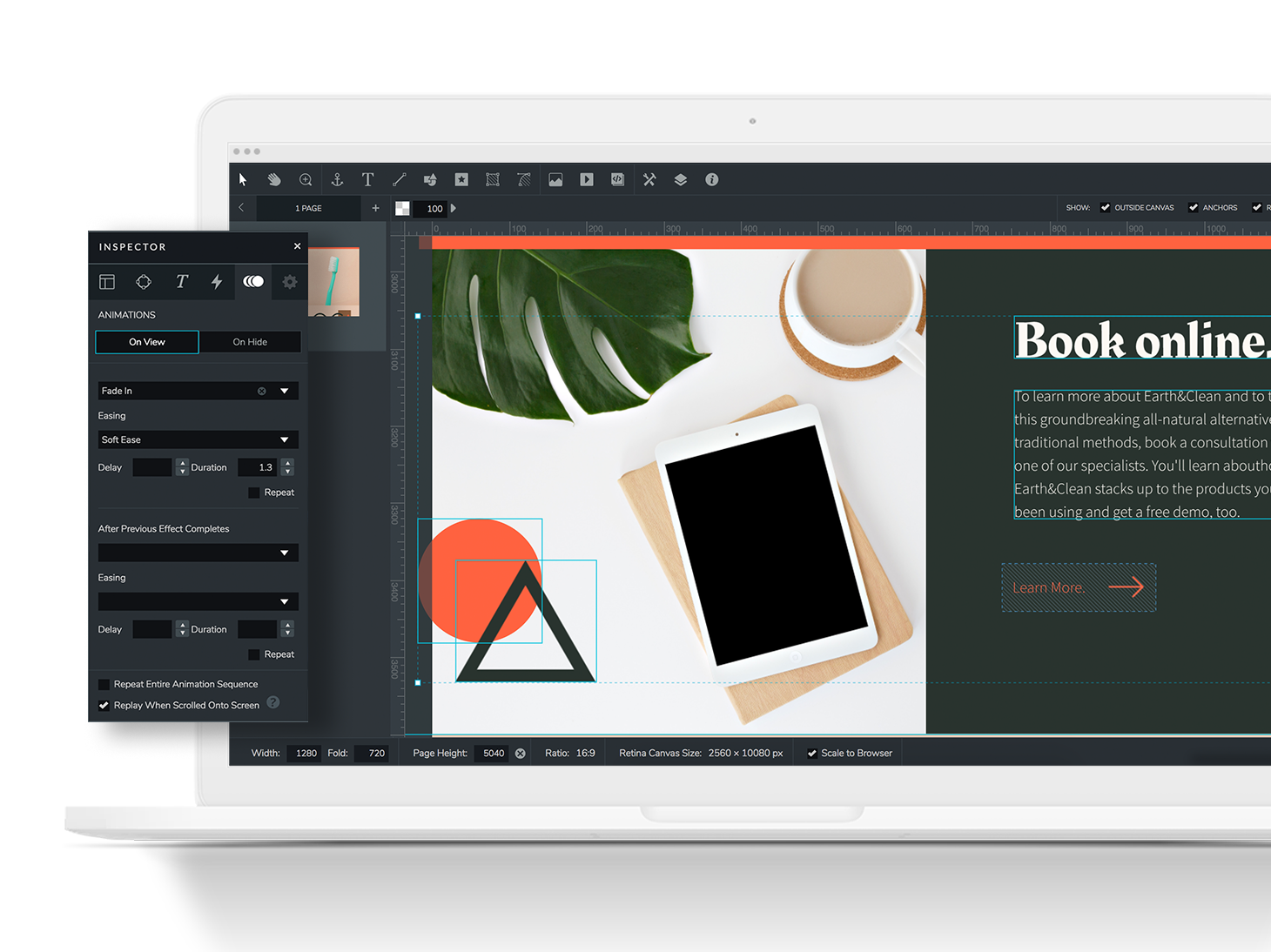 Bring your content to life by quickly adding animations and interactions to the assets on your canvas.