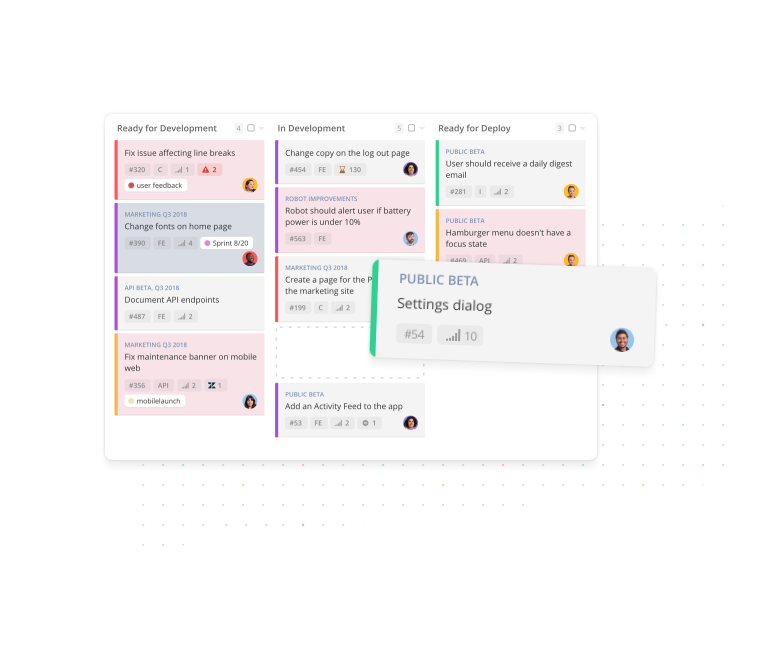 Kanban boards update team members on task status and can be manipulated and rearranged intuitively using drag and drop actions
