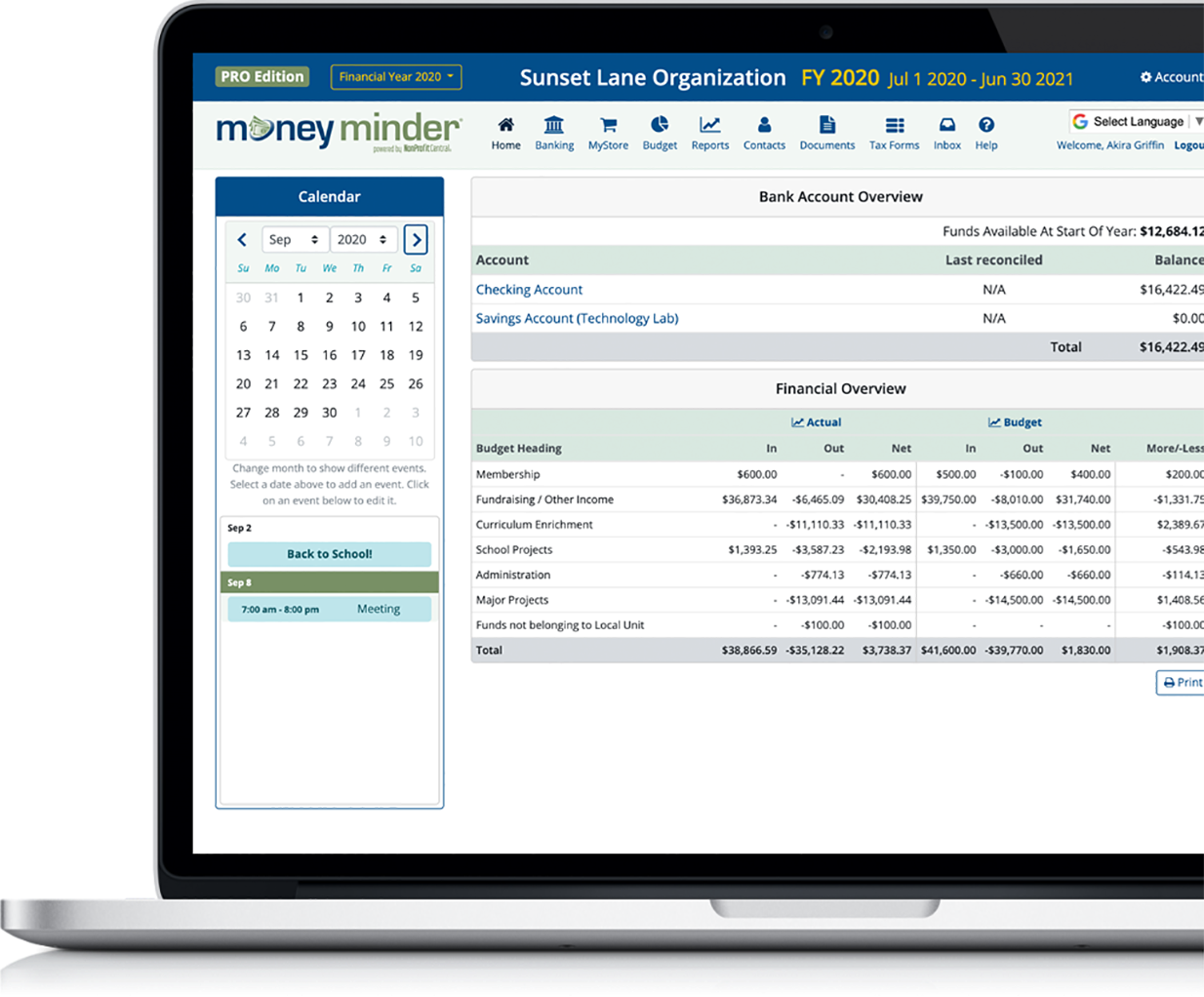 MoneyMinder nonprofit bookkeeping software
