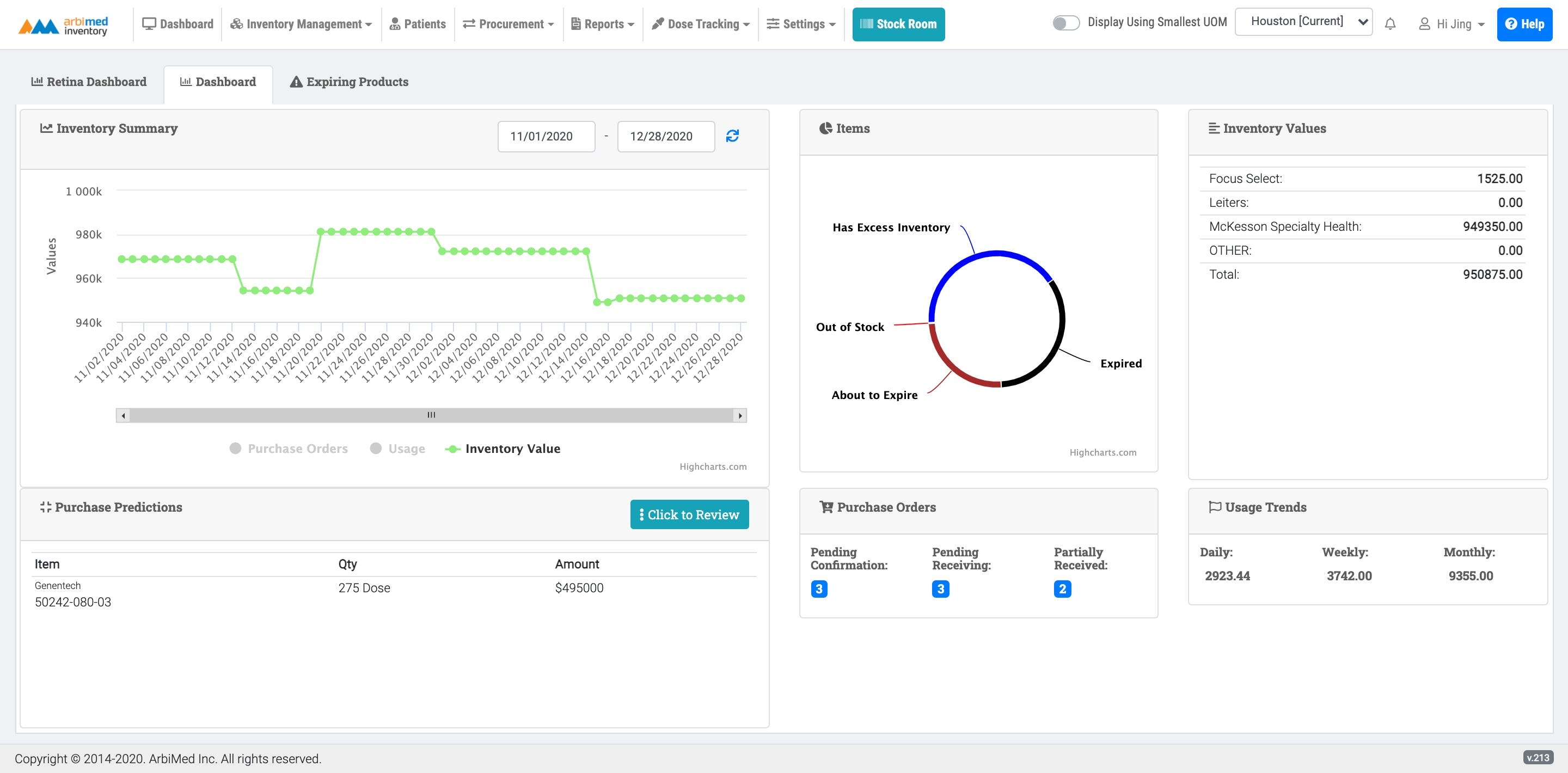 ArbiMed Inventory Software - Dashboard - Review your important inventory information in one place.