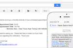 Salon Iris screenshot: Built-in reminder tools that send clients text messages and e-mails