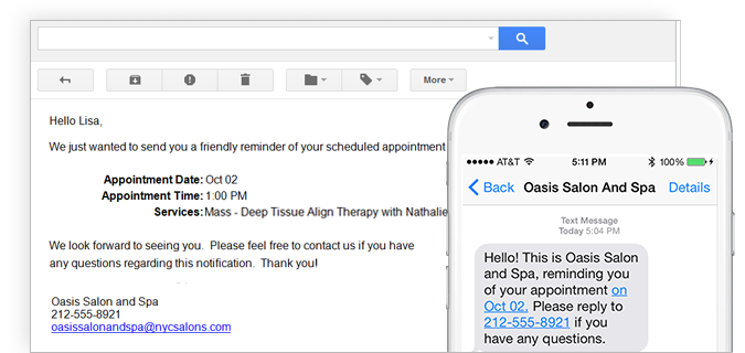 Built-in reminder tools that send clients text messages and e-mails