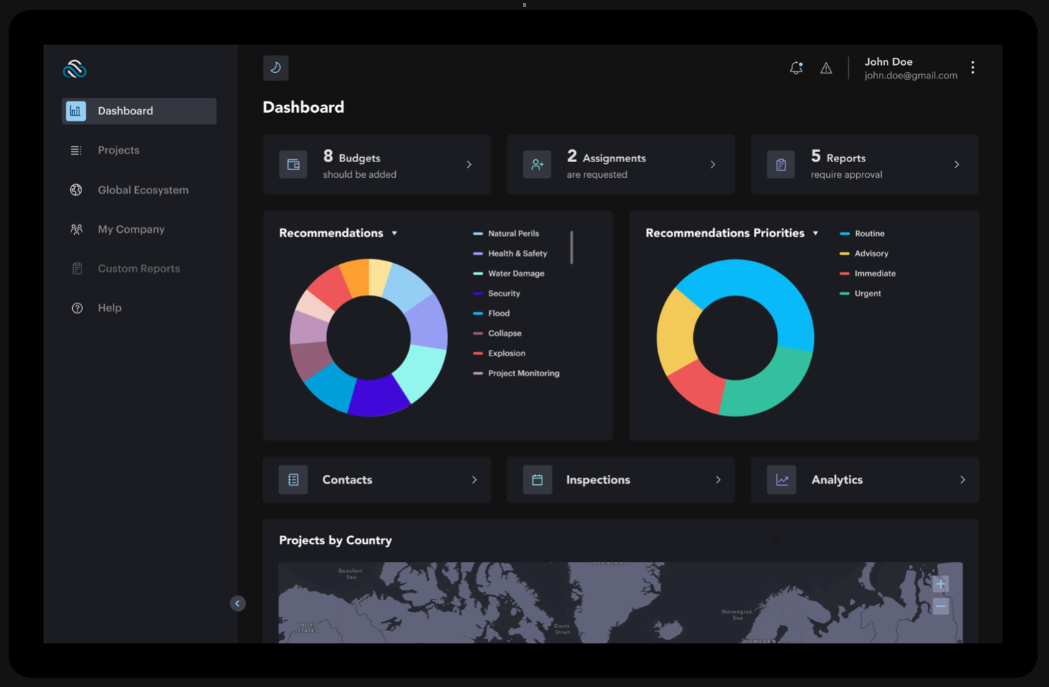 iMitig8 Risk Global provides users with a dashboard to manage their projects, risks and recommendations