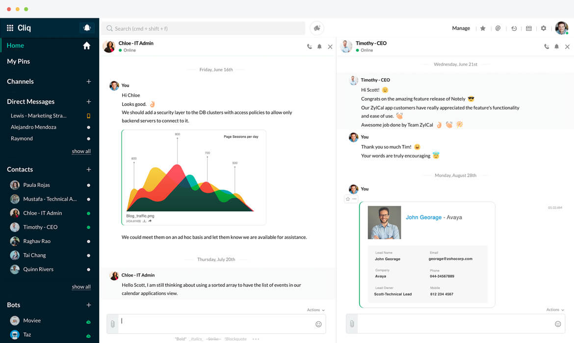 Zoho Cliq dashboard