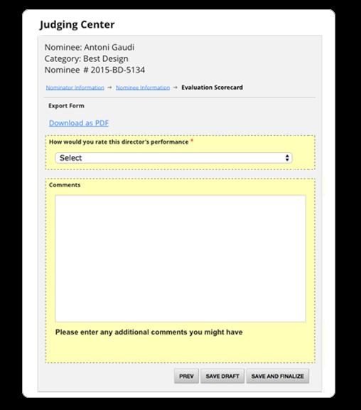 OpenWater Software - OpenWater online judging screenshot