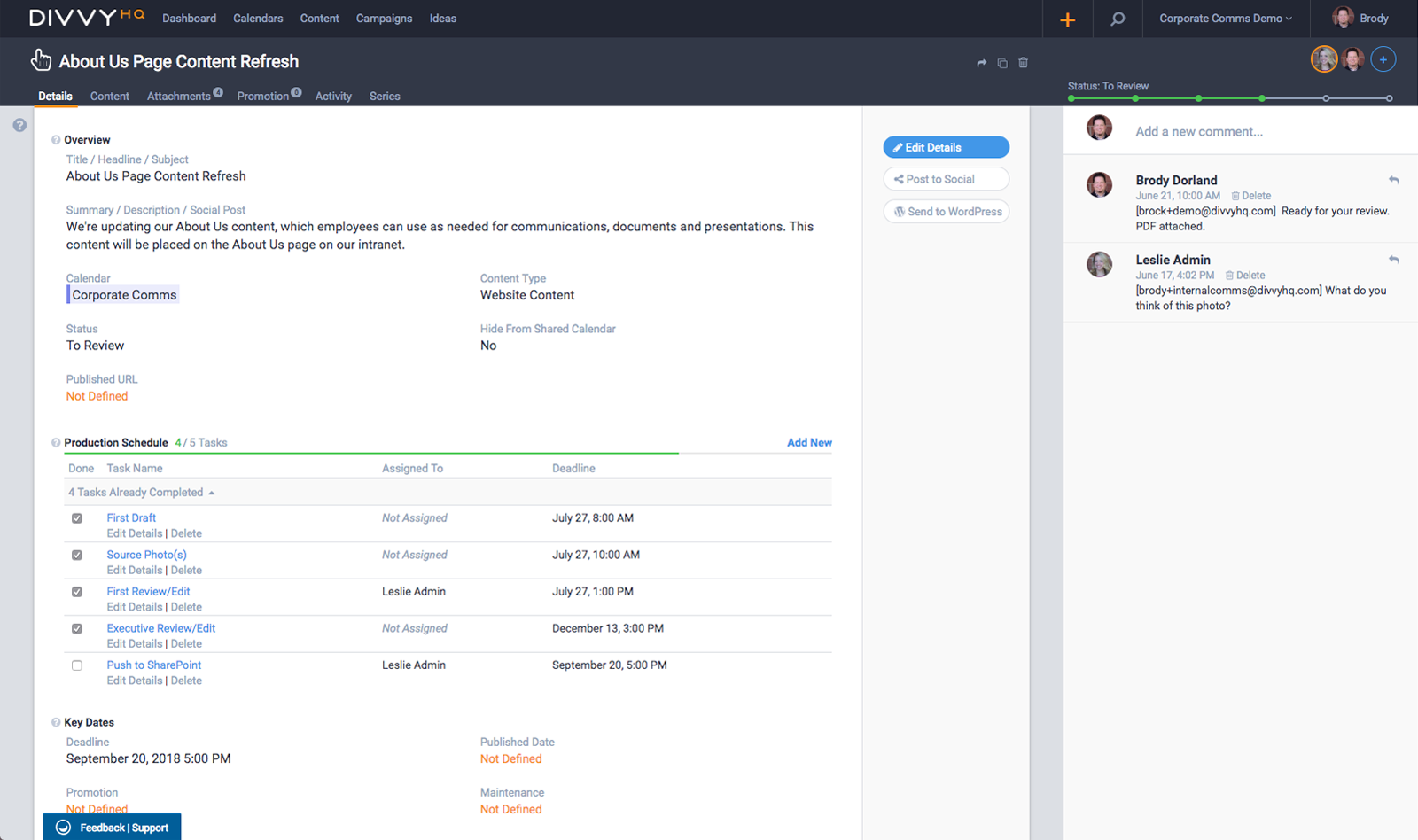 Divvy's Sandbox Interface is your staging area for content projects. It houses all project data, workflows and assets, and provides a robust set of production tools for content creation and collaboration.