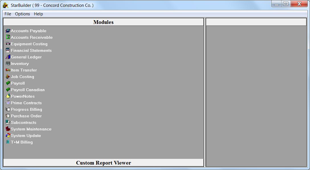 Infor Construction Software - Start Builder Main Menu
