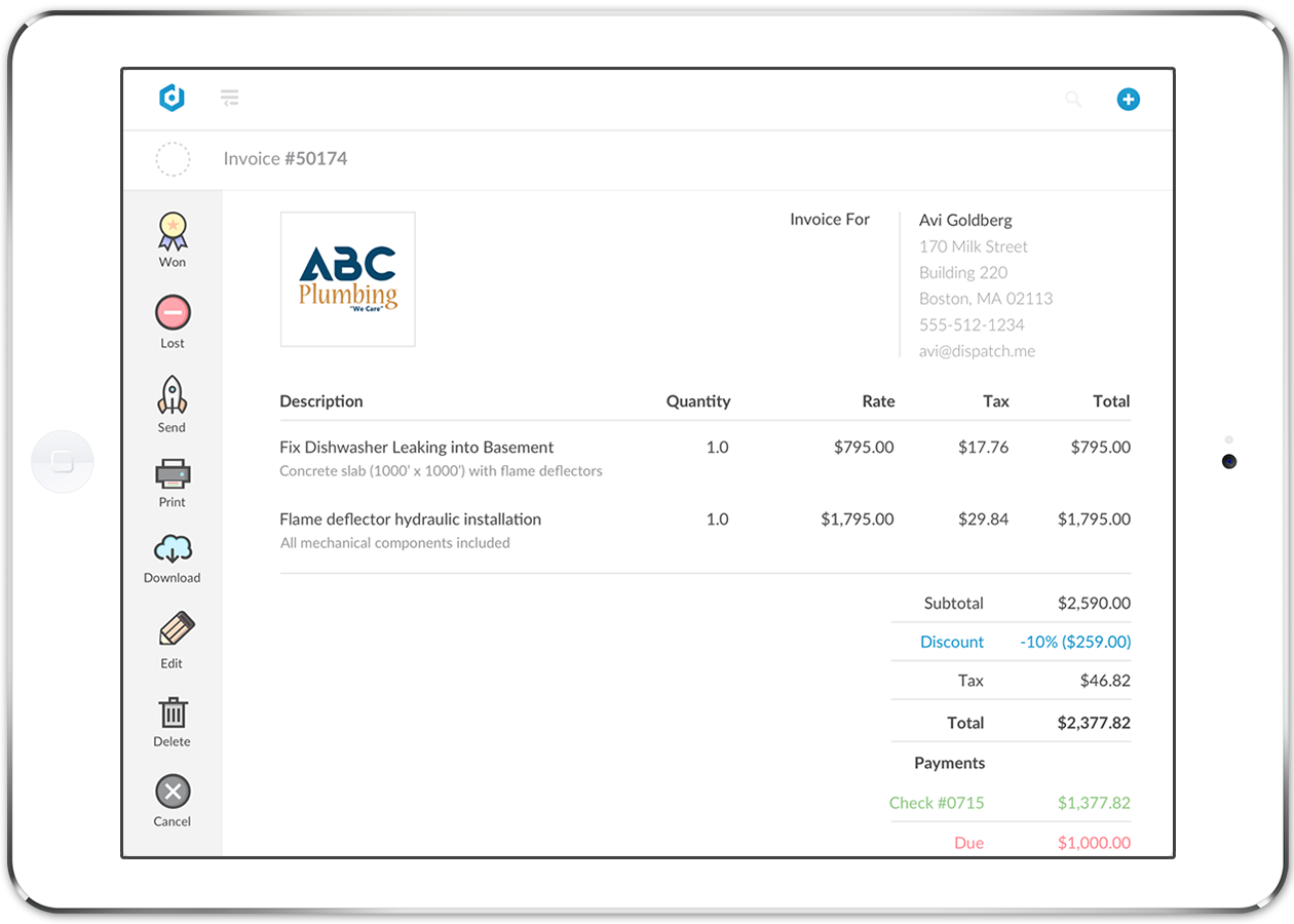 Email estimates and invoices, and let field workers accept credit cards on the spot