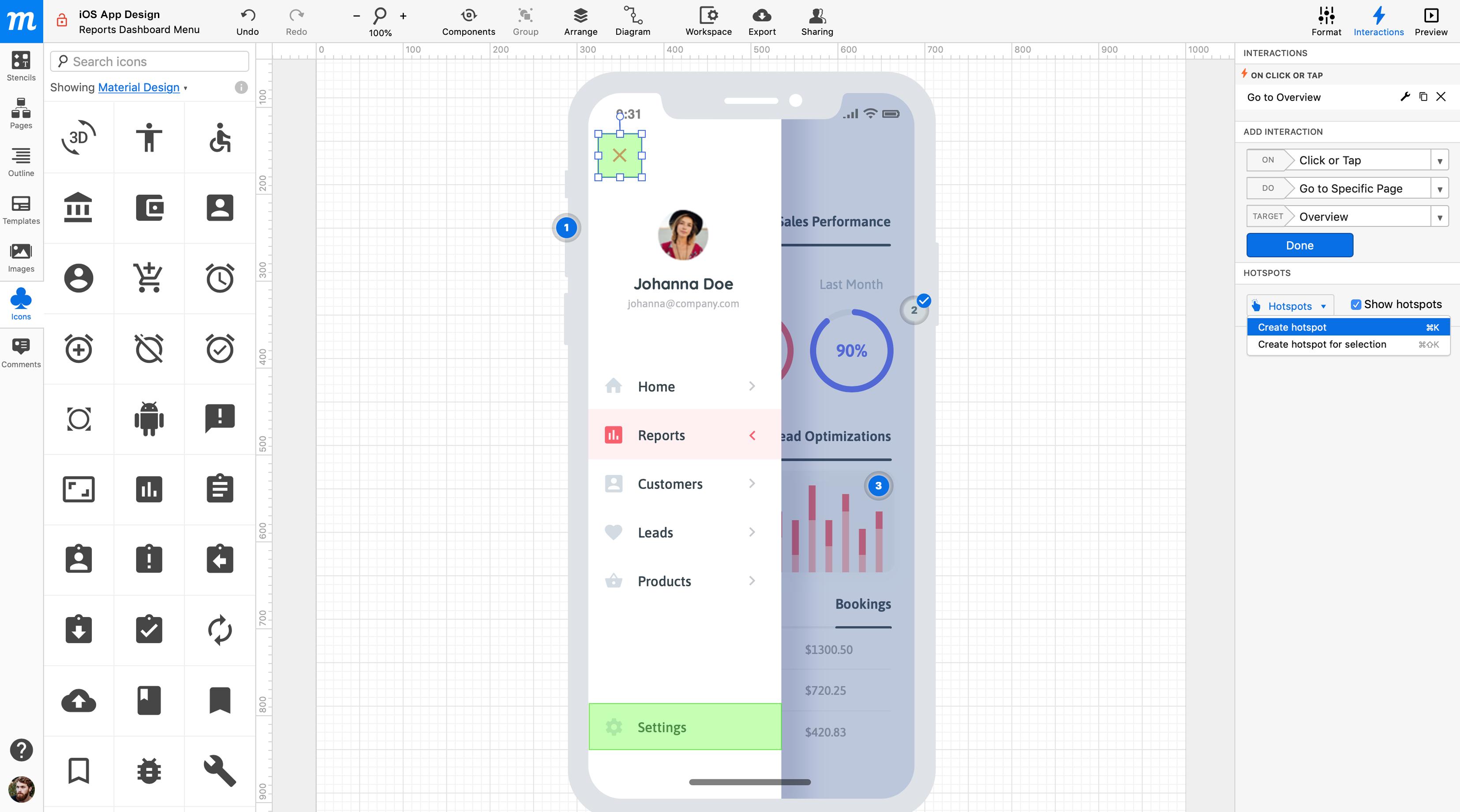 Moqups interactive prototypes
