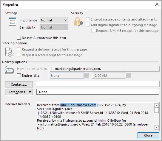 Bitdefender GravityZone e-mail sender blocking screenshot