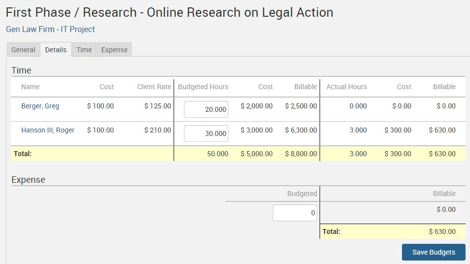 TimeSolv Legal Billing project budget