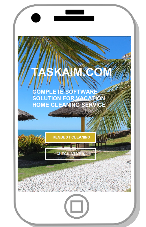 Taskaim.com screenshot: Request cleaning services, check status, see damage pictures, write reviews, and find cleaning companies from anywhere at anytime, via mobile devices