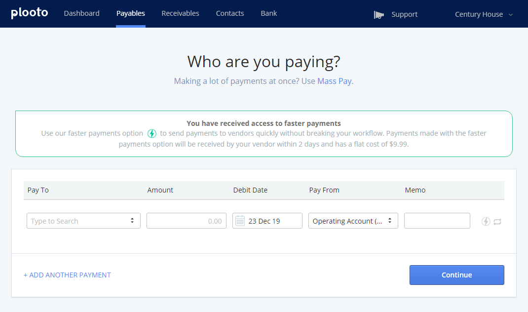 Plooto Manual Payment | Have the ability to make manual payments without having to sync to an accounting software