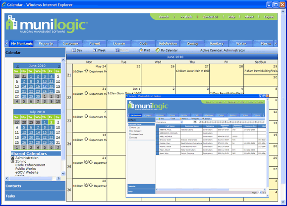 MuniLogic communications management view with calendar management feature