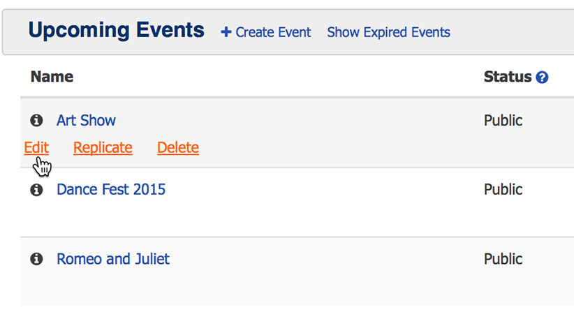 Administrative view of Events tab. Replicate link creates duplicated event data for quick creation of events copying all ticket prices, shipping and fees.