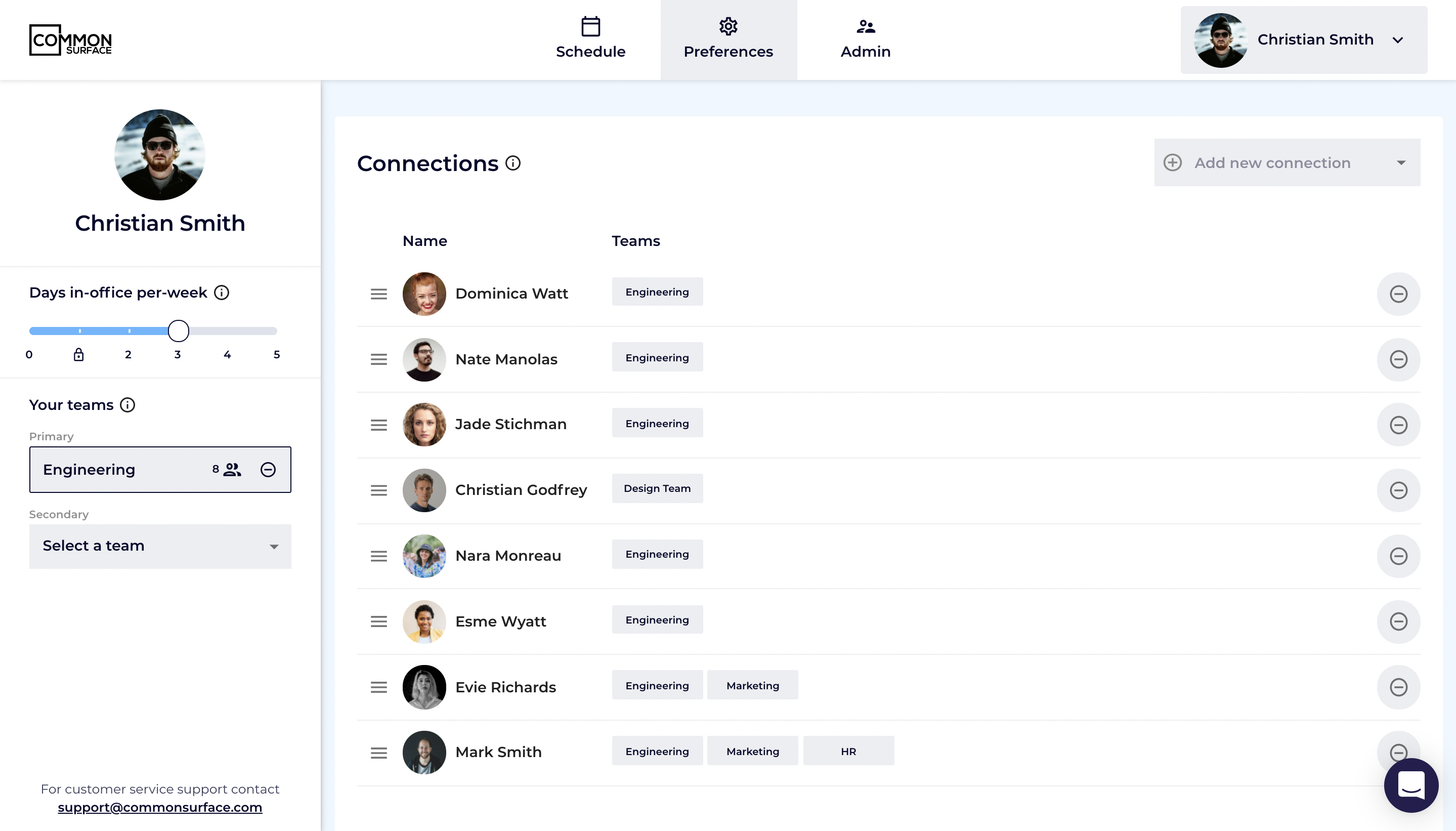 Users input their preferences into Common Surface: the number of days they spend in the office each week, their teams, and their connections. Common Surface takes this information and generates a tailored schedule for all employees.