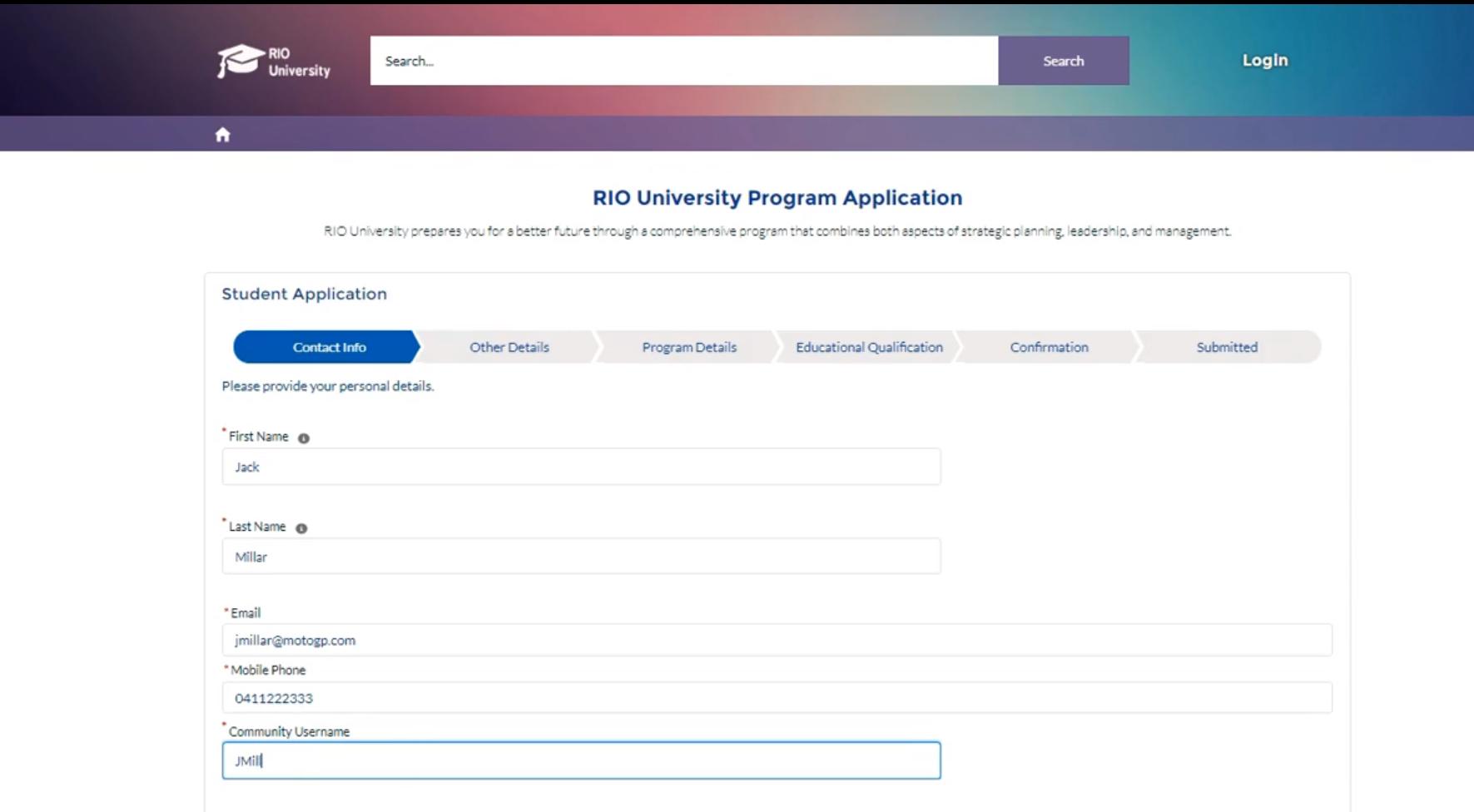 RIO Education program application