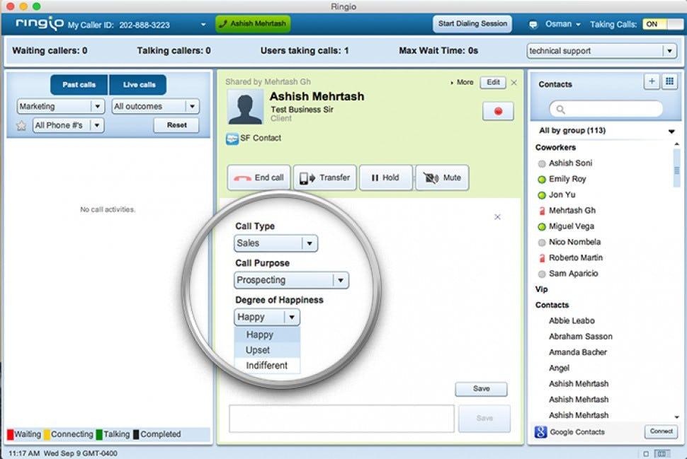 Ringio Software - Caller details