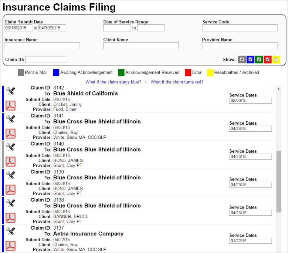 Manage CMS-1500 insurance claims filing