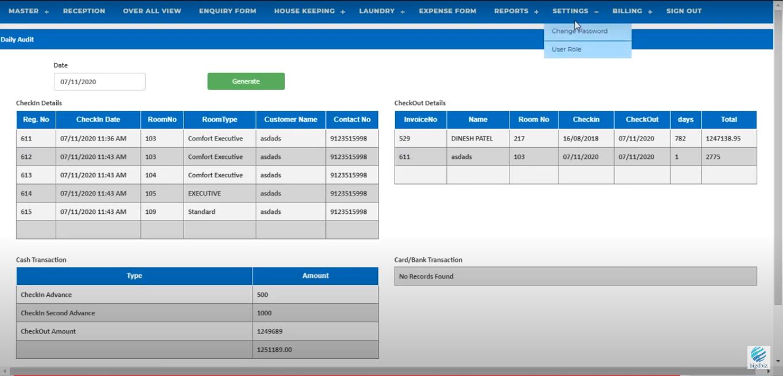 Bigdbiz Hotel Management Software daily audit