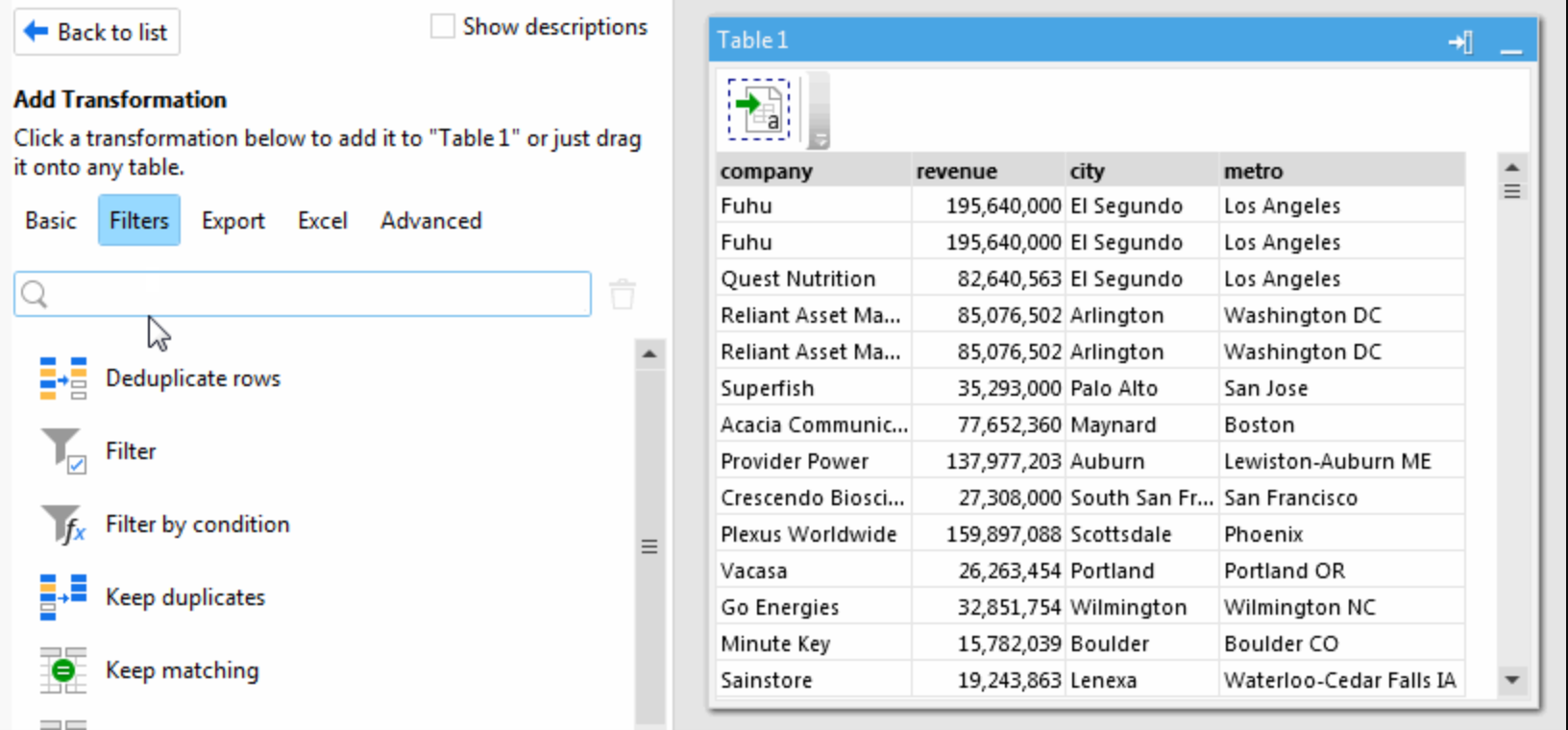Use the filter action to filter through data transformations