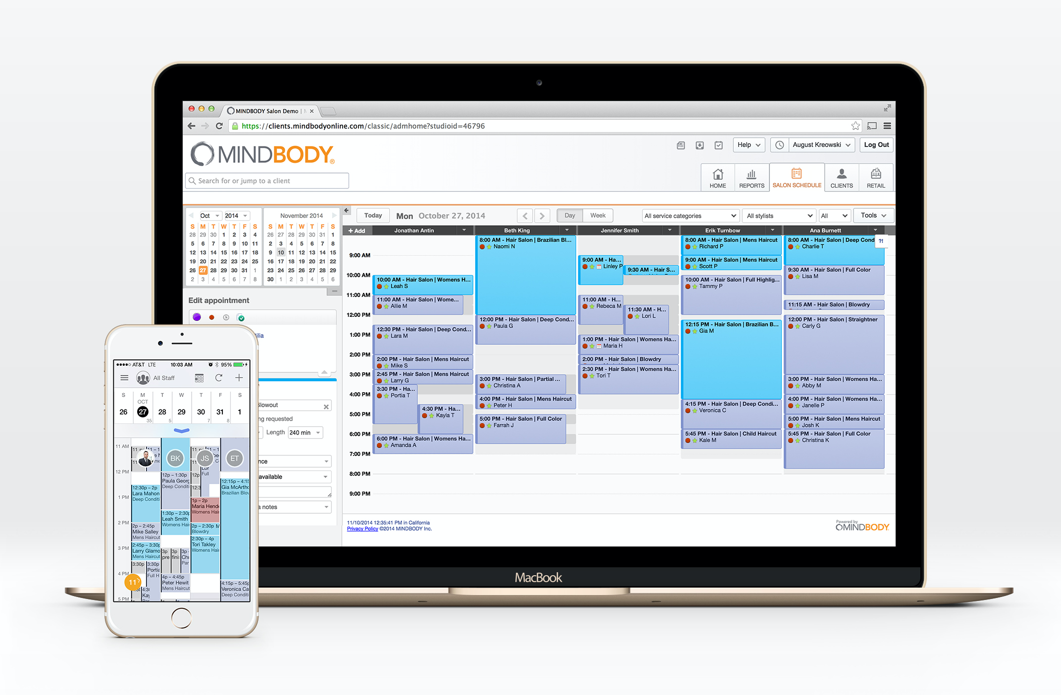 Check and manage schedules easily through a color-coded calendar