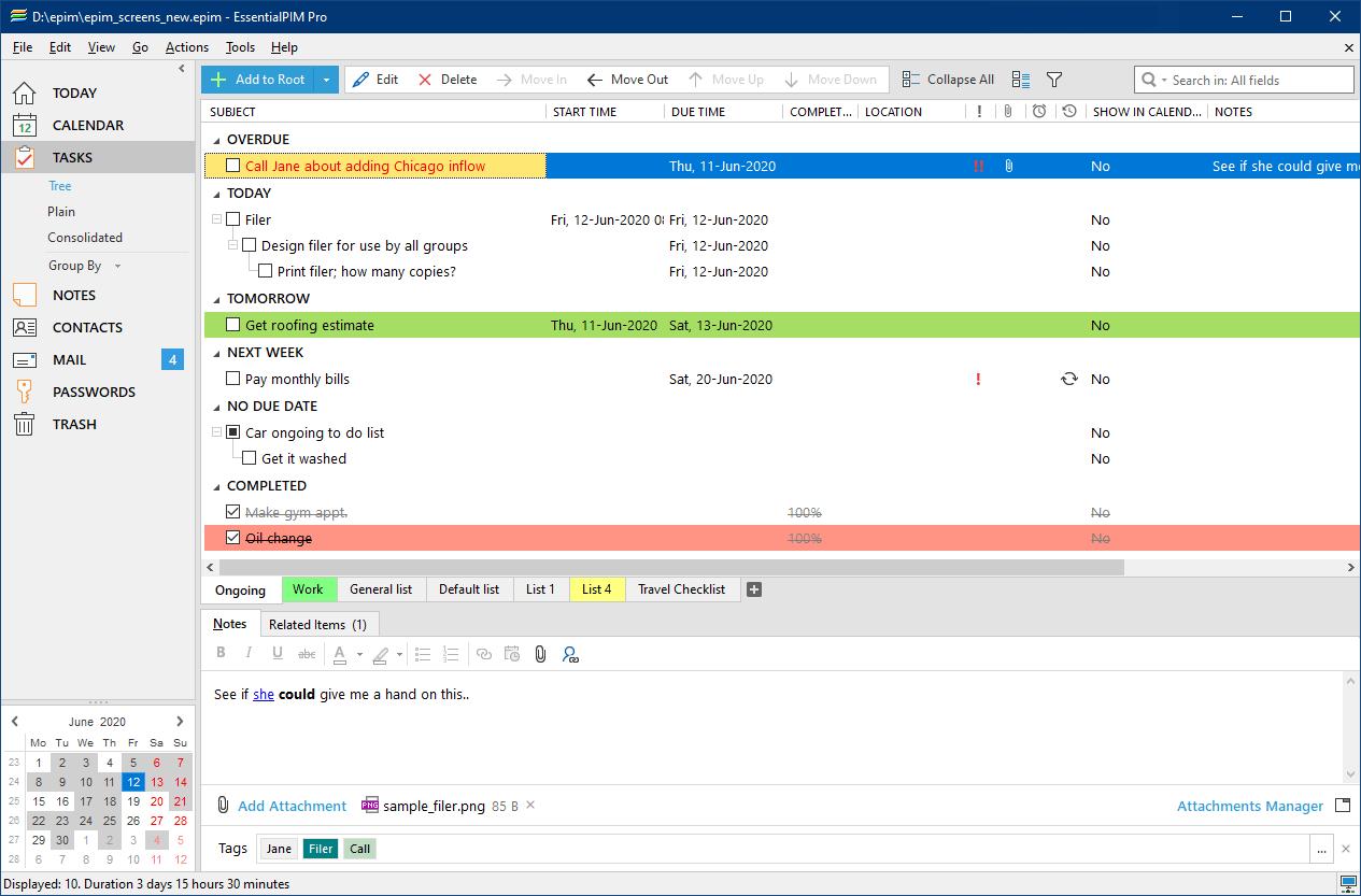 EssentialPIM tasks view