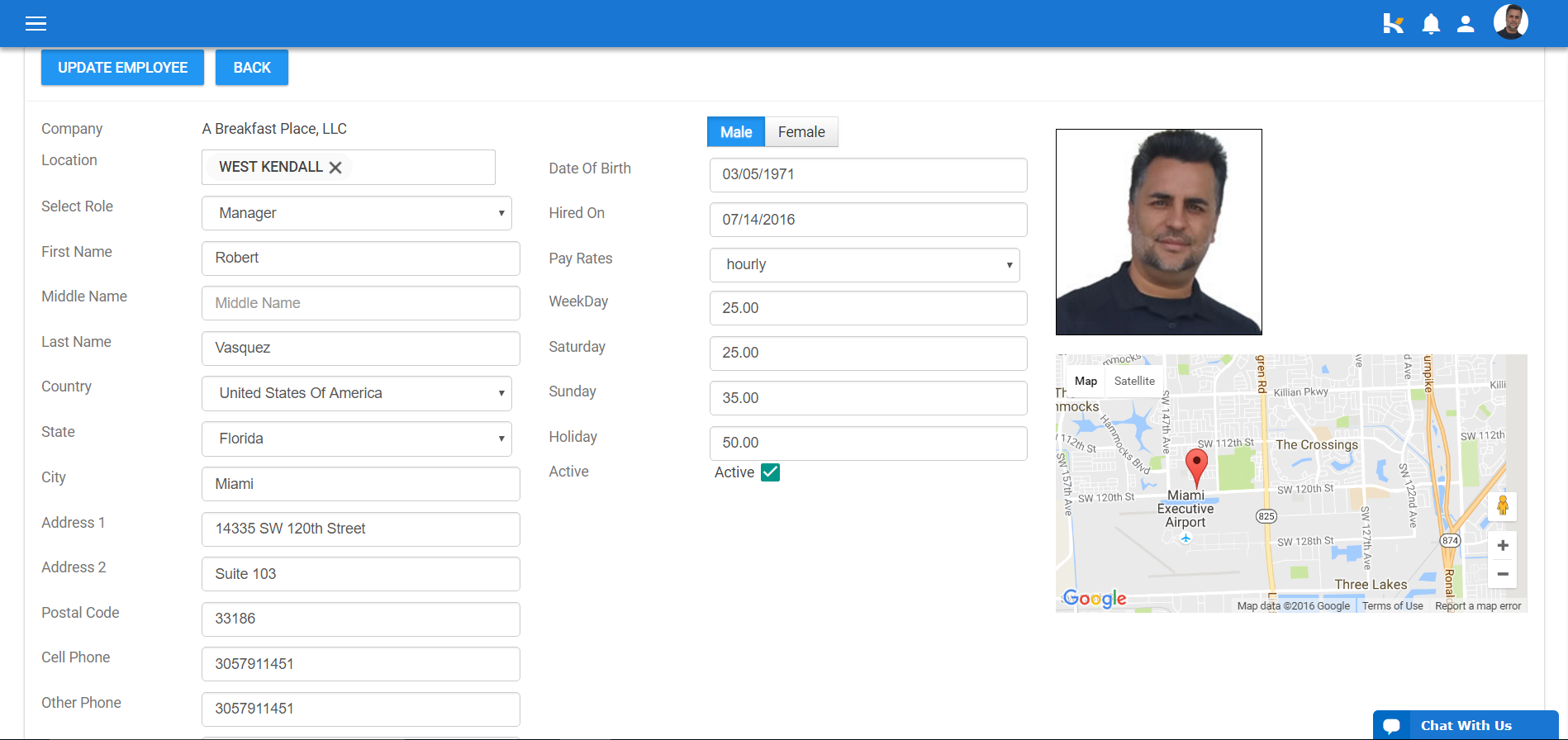 Employee profiles can be added for each location, including their pay rate