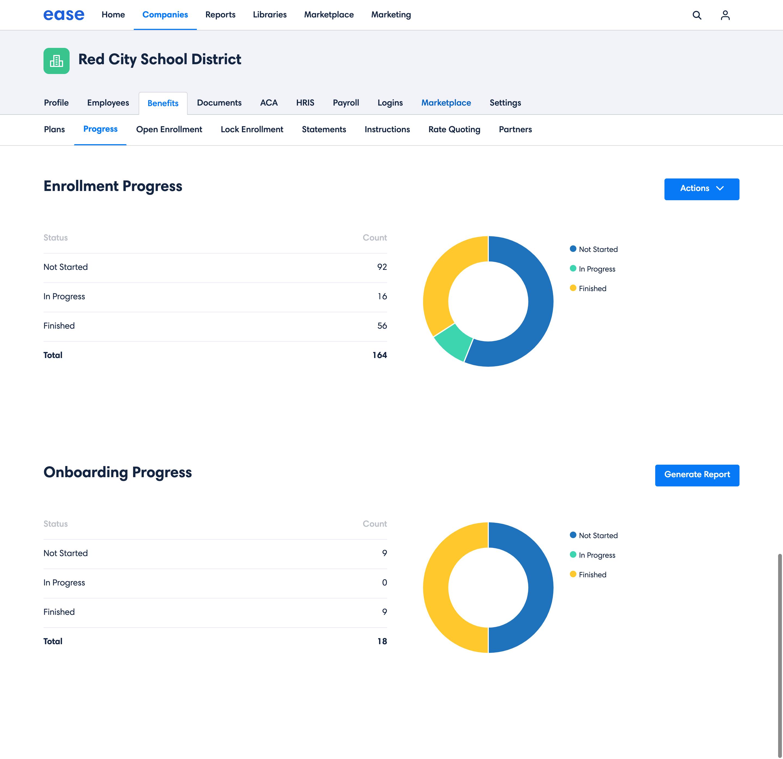 Ease enrolment progress dashboard