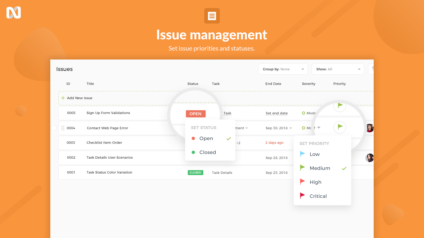 nTask Issue Management