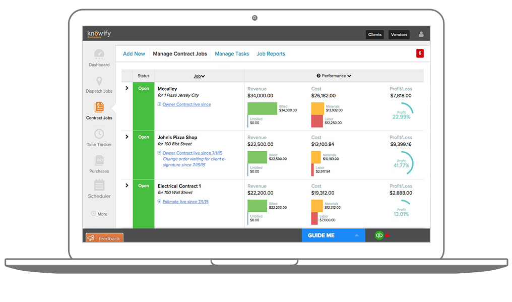Get real-time information about job profitability and work in progress.