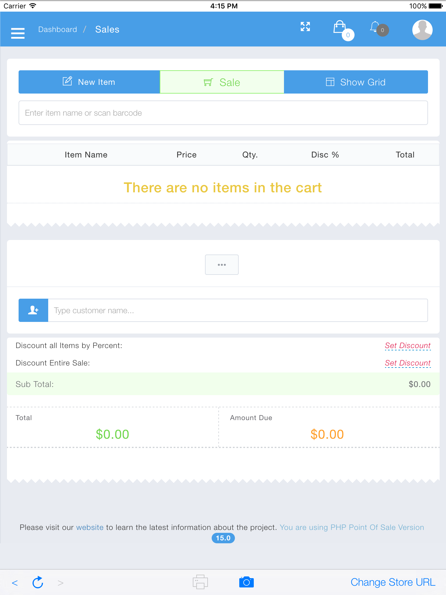 PHP Point of Sale Software - Sale view 1