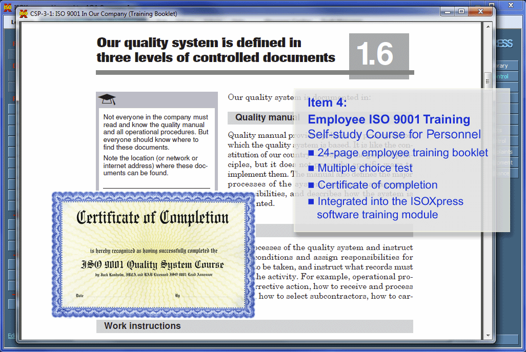 IMSXpress ISO 9001 Quality Management screenshot: IMSXpress ISO 9001 users can take a self study course and generate a certificate of completion.