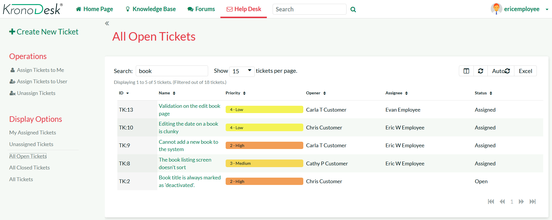 Help desk ticket list for support agents. Lets them view, sort and filter the tickets