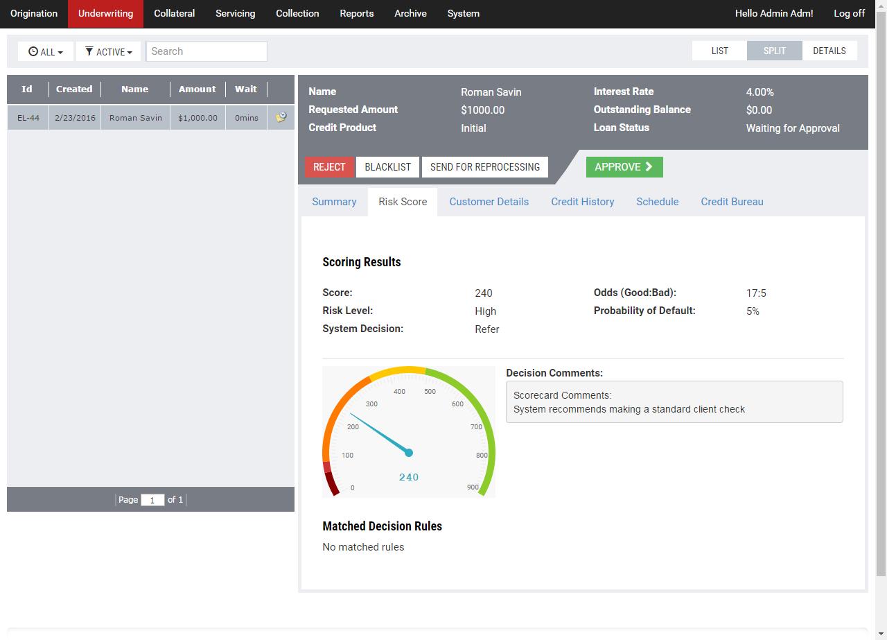 Turnkey Lender Software - Automated scoring