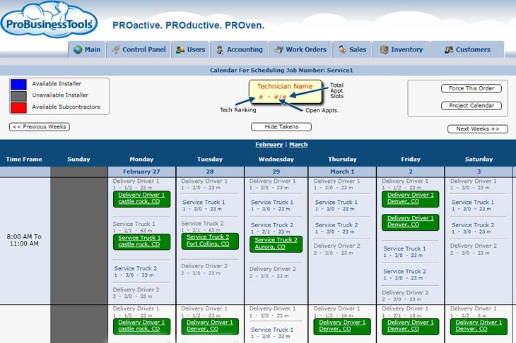 ProBusinessTools showing scheduling