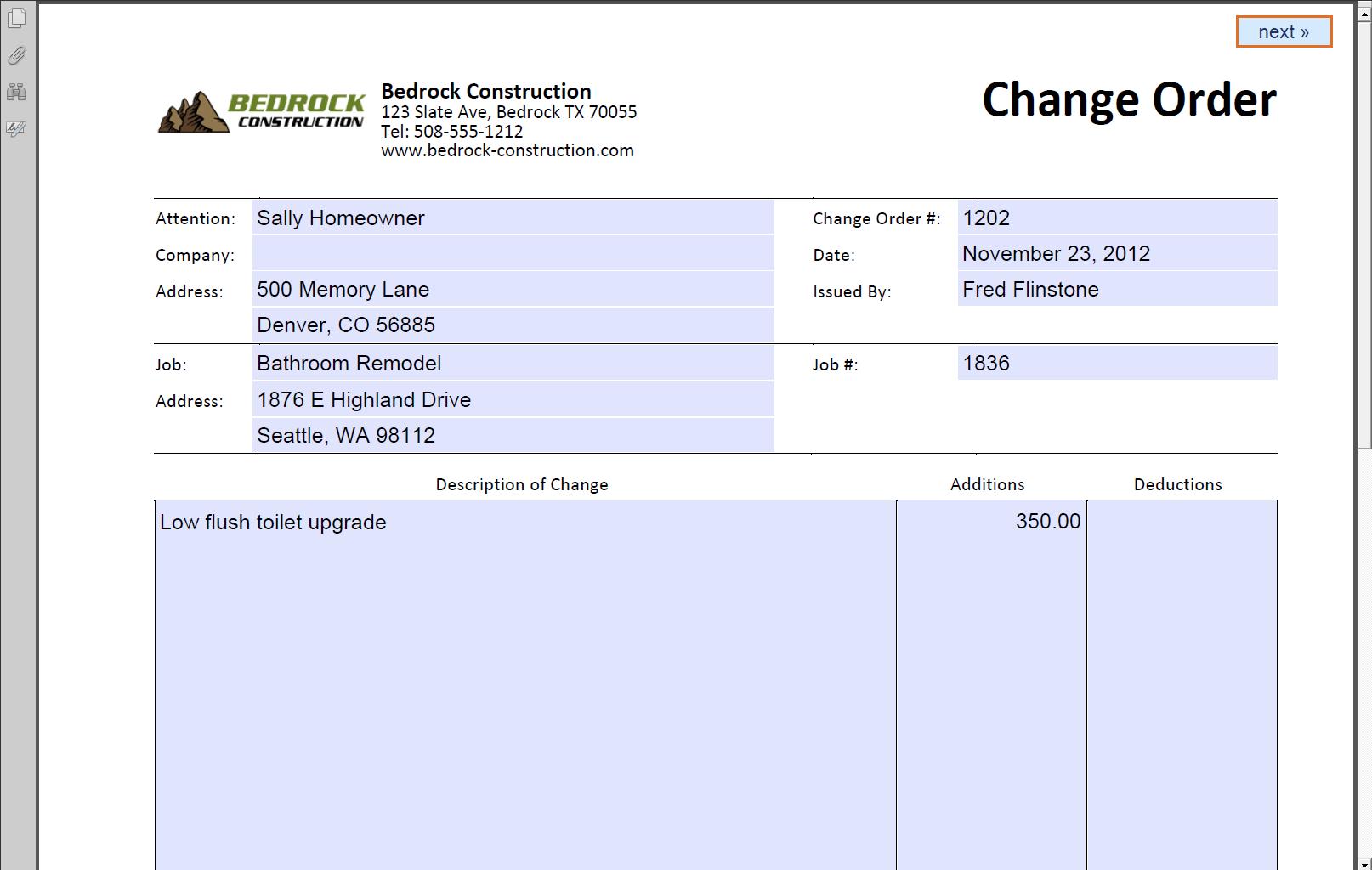 Change order document