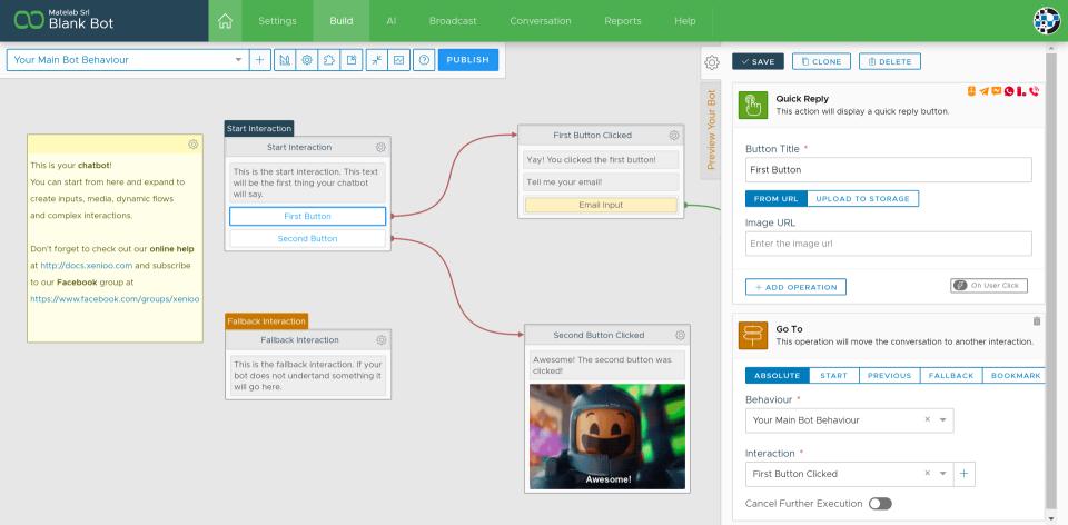 Xenioo chatbot editor