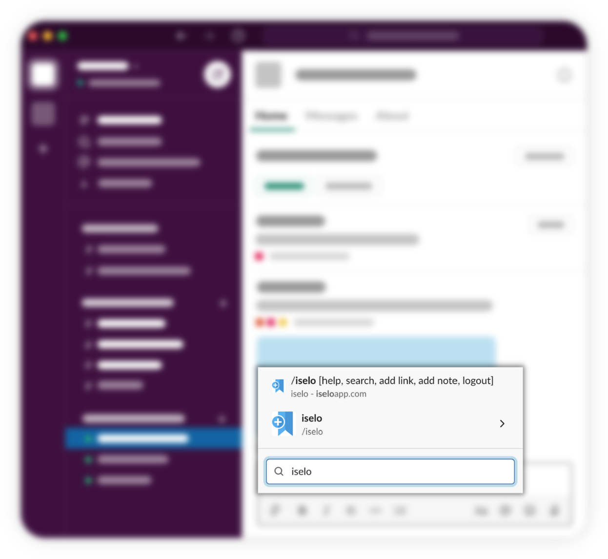 Access ISELO directly from Slack though /iselo command