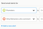 Delighted screenshot: Alerts, including email alerts, facilitate the routing of feedback to the right person or team contact within an organization