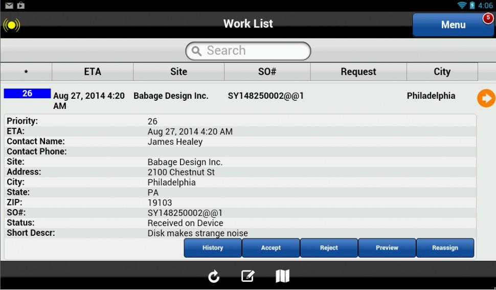 Mobile work list
