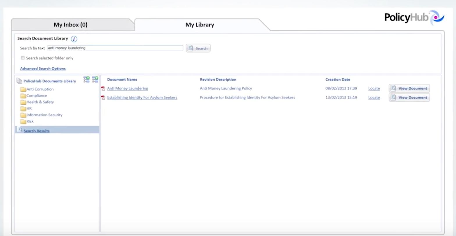 PolicyHub inbox screenshot